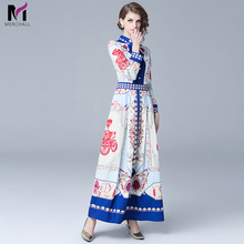 Merchall Robe Vintage Floral Printed Maxi Designer Dresses Runway 2019 High Quality Women Long Spring Beach Dress Vestido Longo