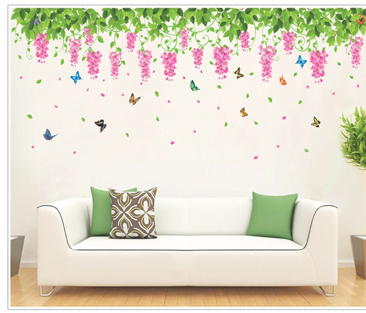 Grape poster butterfly stickers home flower wall mural for Cheap wall mural posters