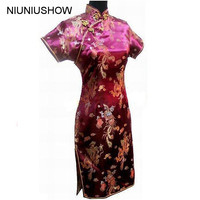 Burgundy Traditional Chinese Dress Women S Satin Mini Cheongsam Qipao Dress Plus Size S M L