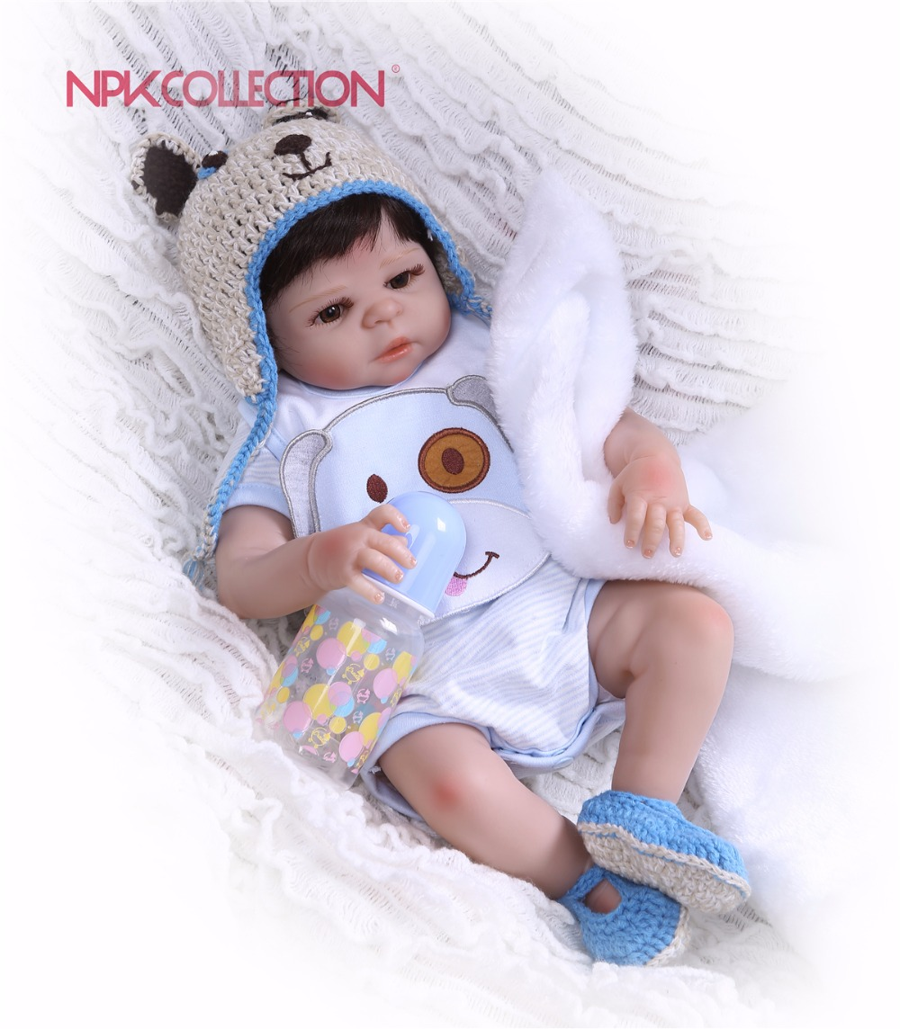 NPK 19inch 46cm Adorable Reborn Doll little Full Silicone Bebes Reborn Boy Doll Boneca Fashion Baby