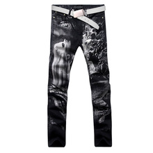 2017 new vogue straight leg denims lengthy males male printed denim pants cool cotton designer good high quality model trousers MJB024