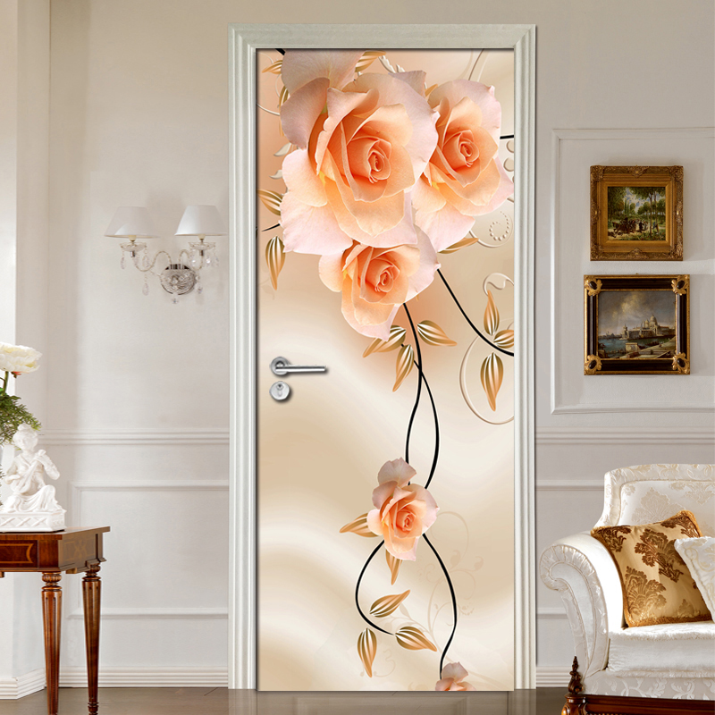 3D Mural PVC Waterproof Self-adhesive Wall Sticker Warm Roses Living Room Bedroom Door Home Decoration Wallpaper Papel De Parede 2 sheet pcs 3d door stickers brick wallpaper wall sticker mural poster pvc waterproof decals living room bedroom home decor