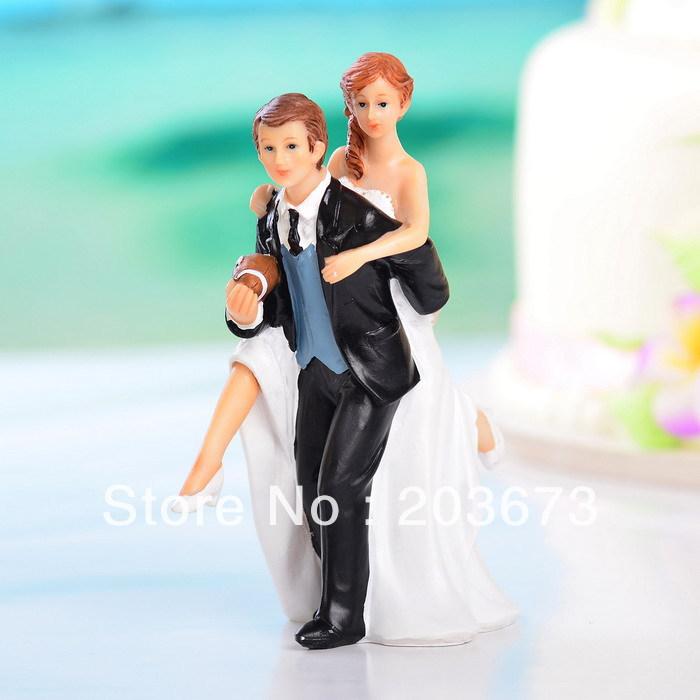 Free shipping Playful Football Couple Figurine Wedding Cake Topper wedding gift