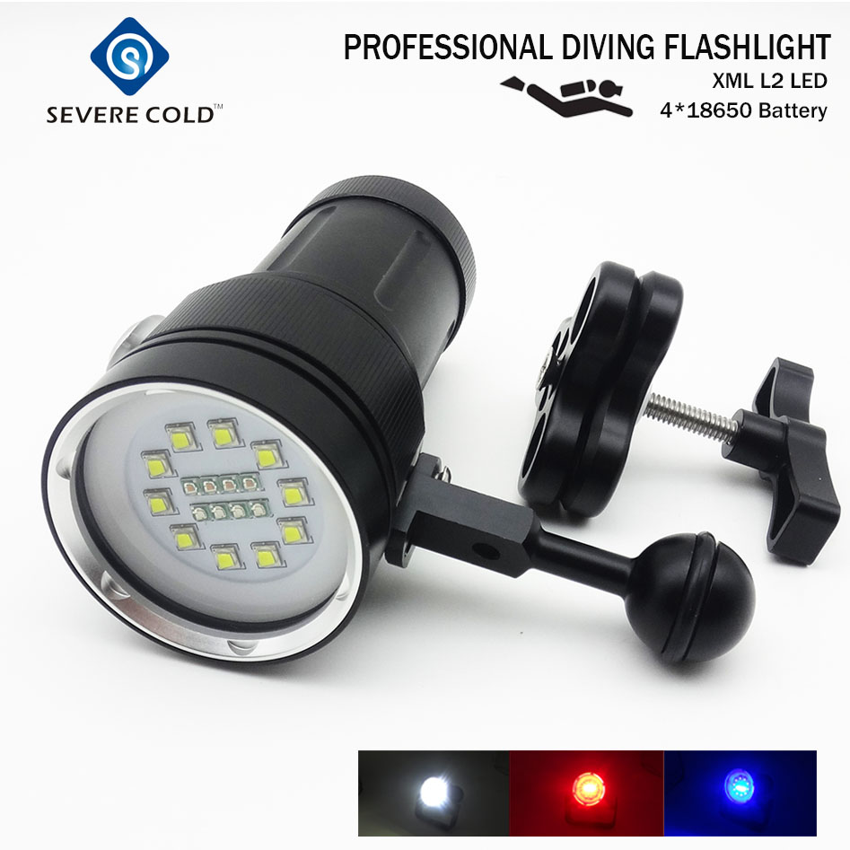 High Quality Professional XML L2 LED White Red UV Light LED Torch Underwater Video Diving Flashlight