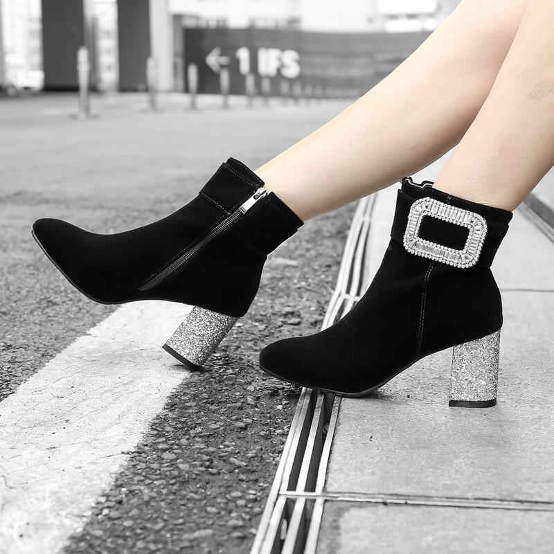 2019 Kadife Kadın Çizmeler yarım çizmeler Kadınlar için Tıknaz Yüksek Topuklu Çizmeler Parti Düğün Sonbahar Kış Kadın Boots Ayakkabı Dropship