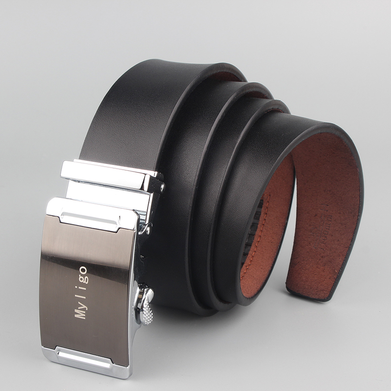 cowboy Leather Male Belts business men high quality Black waist belt automatic alloy buckle gift plus big size130 150 140 160