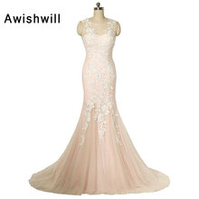 Real Photo Sleeveless Lace Appliques Tulle Mermaid Long Evening Dresses Women Formal Party Prom Gowns Robe
