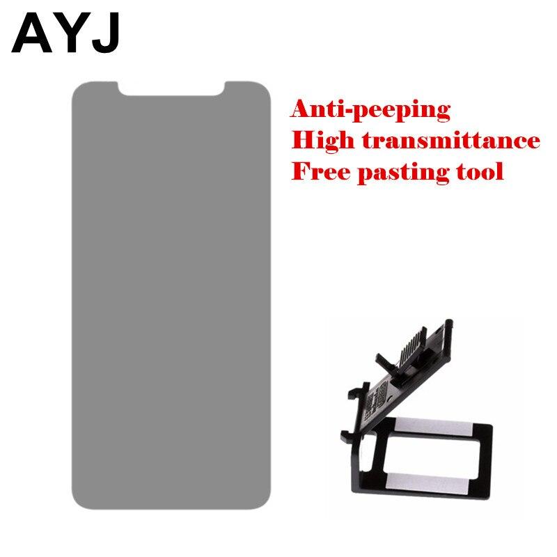 Ayj конфиденциальности закаленное Стекло для IPhone X Экран протектор Плёнки высокий коэффициент пропускания anti-выглядывает с универсальным вс...