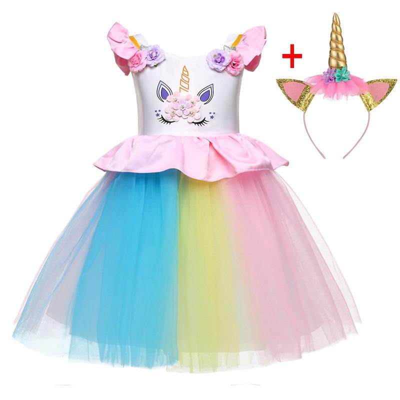 HTB1ddk1XLfsK1RjSszgq6yXzpXa6 Unicorn Dresses For Elsa Costume Carnival Christmas Kids Dresses For Girls Birthday Princess Dress Children Party Dress fantasia