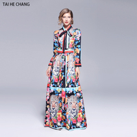women new fashion autumn elegant vestidos slim bodycon vintage formal casual party runway print flower long sleeve maxi dress