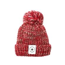Fashion winter knitted cotton hat cold warm ski crochet mixed color soft Hair ball design thickening