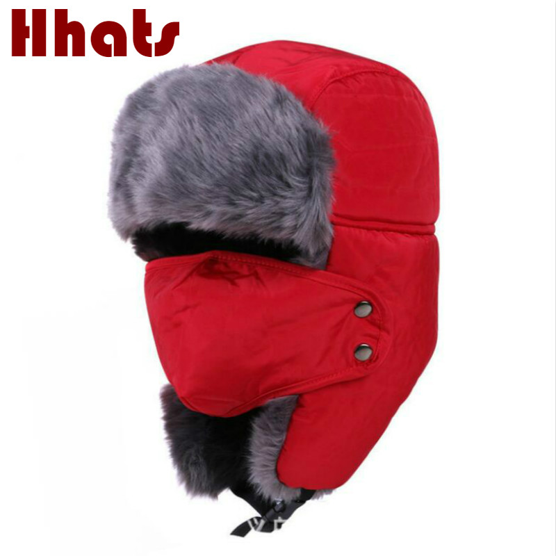3012872c5fa Detail Feedback Questions about which in shower women men faux fur bomber  hat thick warm trapper ear flap winter hat male female earflap cap with  mask on ...