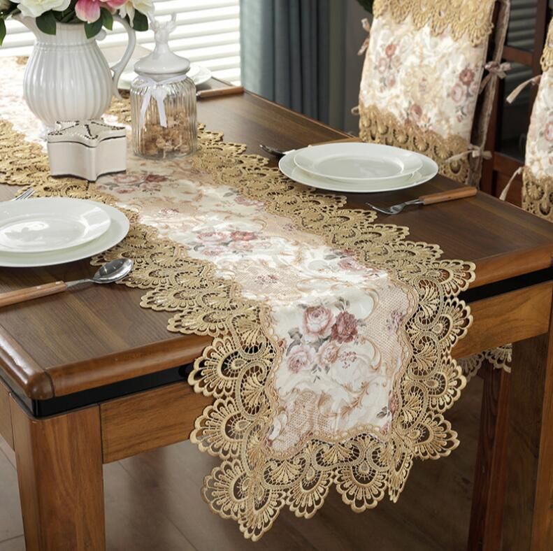 Vintage Embroidered Lace Yarn Tablecloth Table Runner Placemat Doily Home Decor