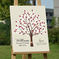 Personalized Wedding Guest Book with Birds & Heart Canvas Fingerprint Tree Guest Book Wedding Signature Guestbook Party Decor