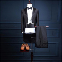 5 Piece (Jacket+Pants+Vest+Bow tie+Belt) 2018 black men dress vest suit Tailcoat Suits Slim Fit Groom Wedding Prom Mens Blazers
