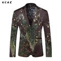 KCAE 2017 Nova Impressão 3D Pavão Homens Ternos Fino Marca Vestido Da Forma Dos Homens Ternos de Casamento dos homens Ternos Blazer Moda Moderna Blazer