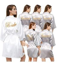silver robe with gold writing sister mother bride kimono robe bridesmaid white pink wedding satin robes bride S-XXL cheap YEGDBDU SILK Faux Silk Solid Short summer WOMEN Satin Silk Polyester Above Knee Mini 6666