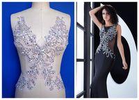ZBROH Pure hand made naaien Steentjes applique op mesh silver kristallen patches 39*29 cm jurk accessoire