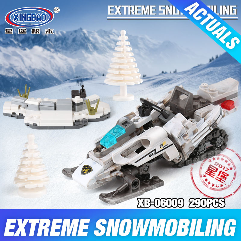 XINGBAO 06009 Genuinethe Extreme Snowmobiling Set Military Series T Building Blocks Bricks Toy As Funny Christmas boy Gift xingbao 06009 military series the extreme snowmobiling sets legoinglys building nano blocks bricks toys for children kids