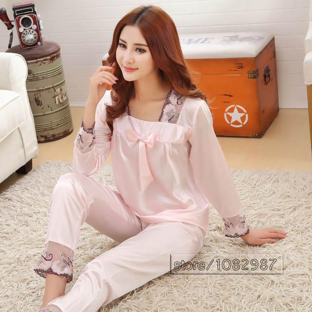 2017 Spring Summer Autumn Silk Women Pajamas Sets of Sleepcoat   Sleep  Shorts Lady Nightdress Female d81117a94