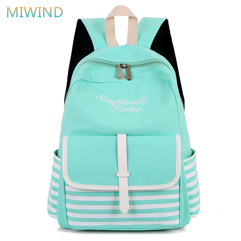 MIWIND 2018 Fashion Striped Laptop Backpacks Canvas School Bags For Teenage Girls Printing Backpack Women Bag Mochilas CB262