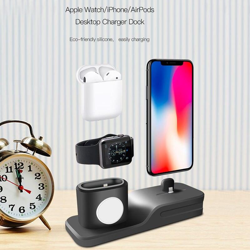 3 в 1 зарядки Держатель для iPhone X iPhone 8 plus iPhone 7 для Airpods Силиконовая Подставка для зарядки для док-станции для Apple watch ...