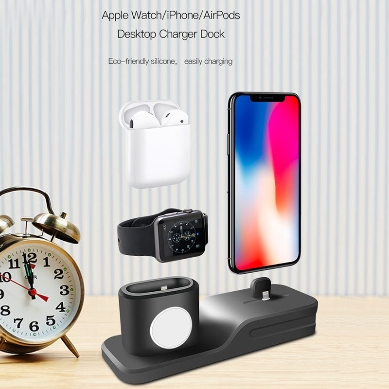 3 in 1 Charging Holder for iPhone X iPhone 8 plus iPhone 7 for Airpods Silicone charging stand Dock Station For Apple watch