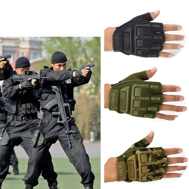 Army Military Tactical Combat Gloves Outdoor Special Forces Half Navy SEALs Finger Anti Skid Fingerless