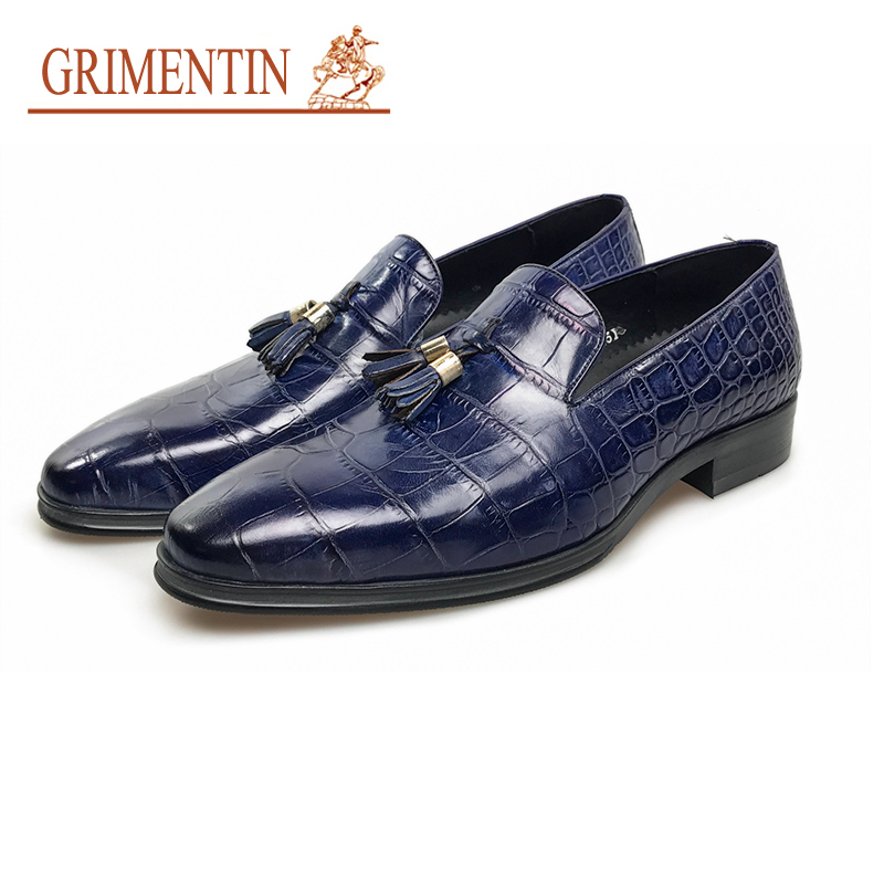 GRIMENTIN italian mens shoes brands slip on genuine leather tassel blue male shoes 2018 business shoes