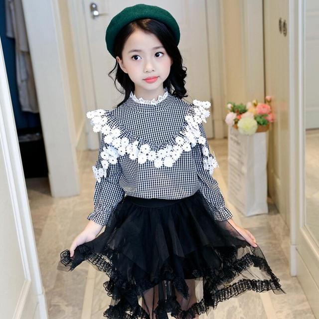 9186d1e87 Fashion Baby Teenager Clothes Plaid Girls Blouse Shirts Kids Child Lace  Long Sleeve Girl Tops And Blouses 6 8 10 12 Year JW3646