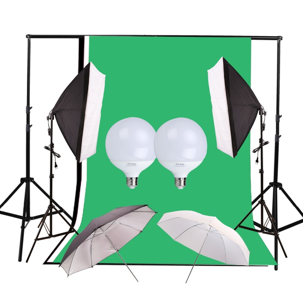 Photography Photo Studio Kit Photo Video Equipment Softbox Umbrella Background Backdrop Light Stand Set photo studio 2 6 3m adjustable background support stand photo backdrop crossbar kit photography equipment