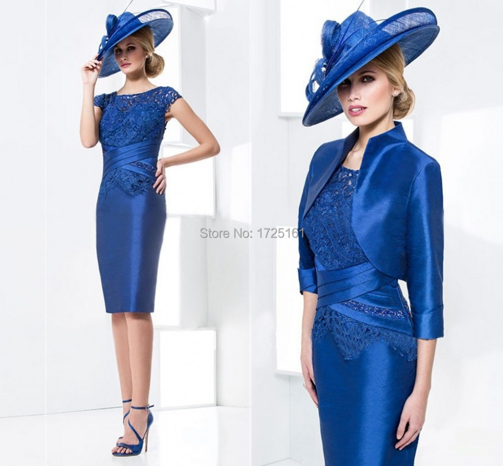 Lace Royal Blue Satin Mother Of the Bride Outfits Wedding Guest New ...