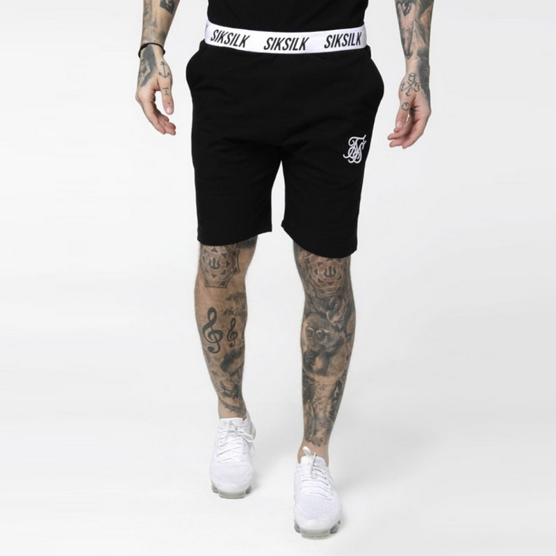 Men Summer Sik Silk Embroidery Gyms Fitness Bodybuilding Casual Joggers Workout Brand Sporting Short Pants Sweatpants Sportswear