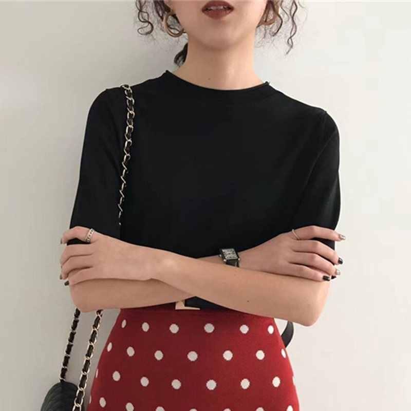 Verano Vintage elegante Oficina señoras camiseta mujeres más tamaño Top camisetas sueltas coreano liso negro 2019 Retro moda femenina camiseta