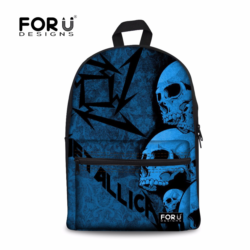 FORU Metallica-and-Justice-for-all Style Women's Canvas Backpack School Backpack For Teenager Girl Casual Travel Bag Punk Skull metallica metallica and justice for all