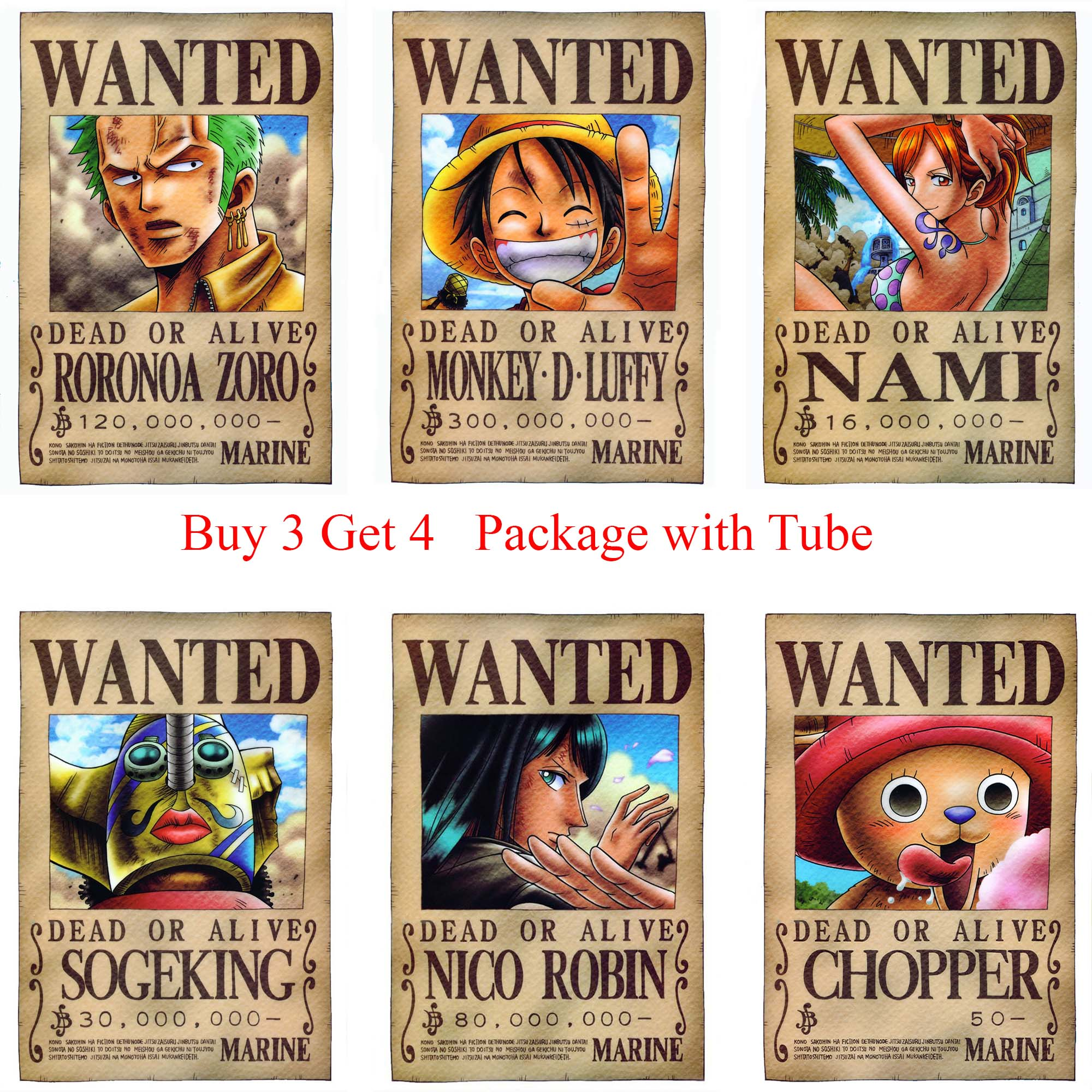 ONE PIECE WANTED Posters Luffy Zoro Sanji Nami Robin Home