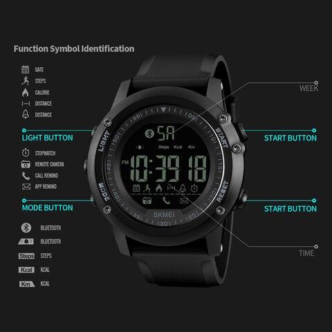 SKMEI Mens Watches Top Brand Luxury Sport Smart Watch Silicone Strap Clock Men Waterproof Bluetooth Smartwatch Relogio Masculino Islamabad