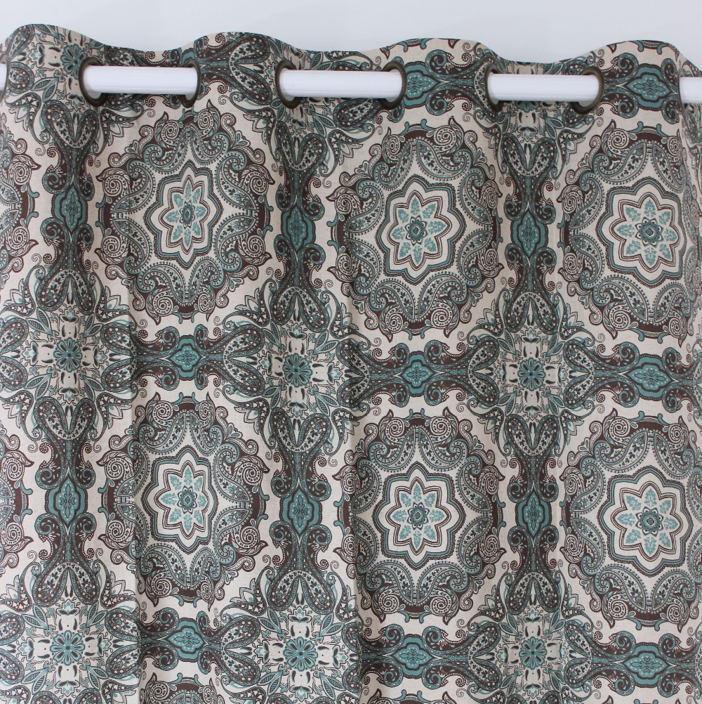 VEZO HOME Window Curtains Panel Printed Vintage Floral Cotton Linen  Finished Curtains Bedroom Living Room Home