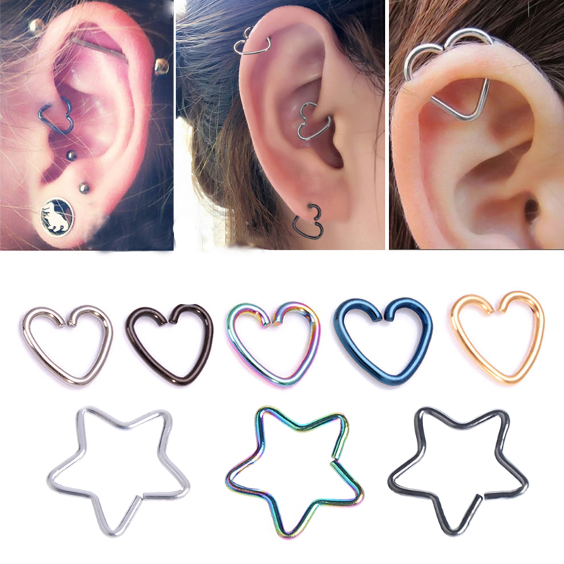 1PC Heart/Star Shaped Tragus Piercings Hoop Helix Cartilage Tragus Daith Ear Studs Lip Nose Rings Piercing Silver Jewelry bracelet