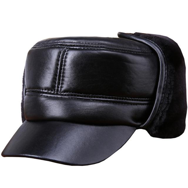 4b42e9dae3b94 2018 Winter Senior Men Hat Genuine Leather Cap Flat Casquette Hat Big Small  Head Black Sheepskin Earflap Furry Bomber Men Hat