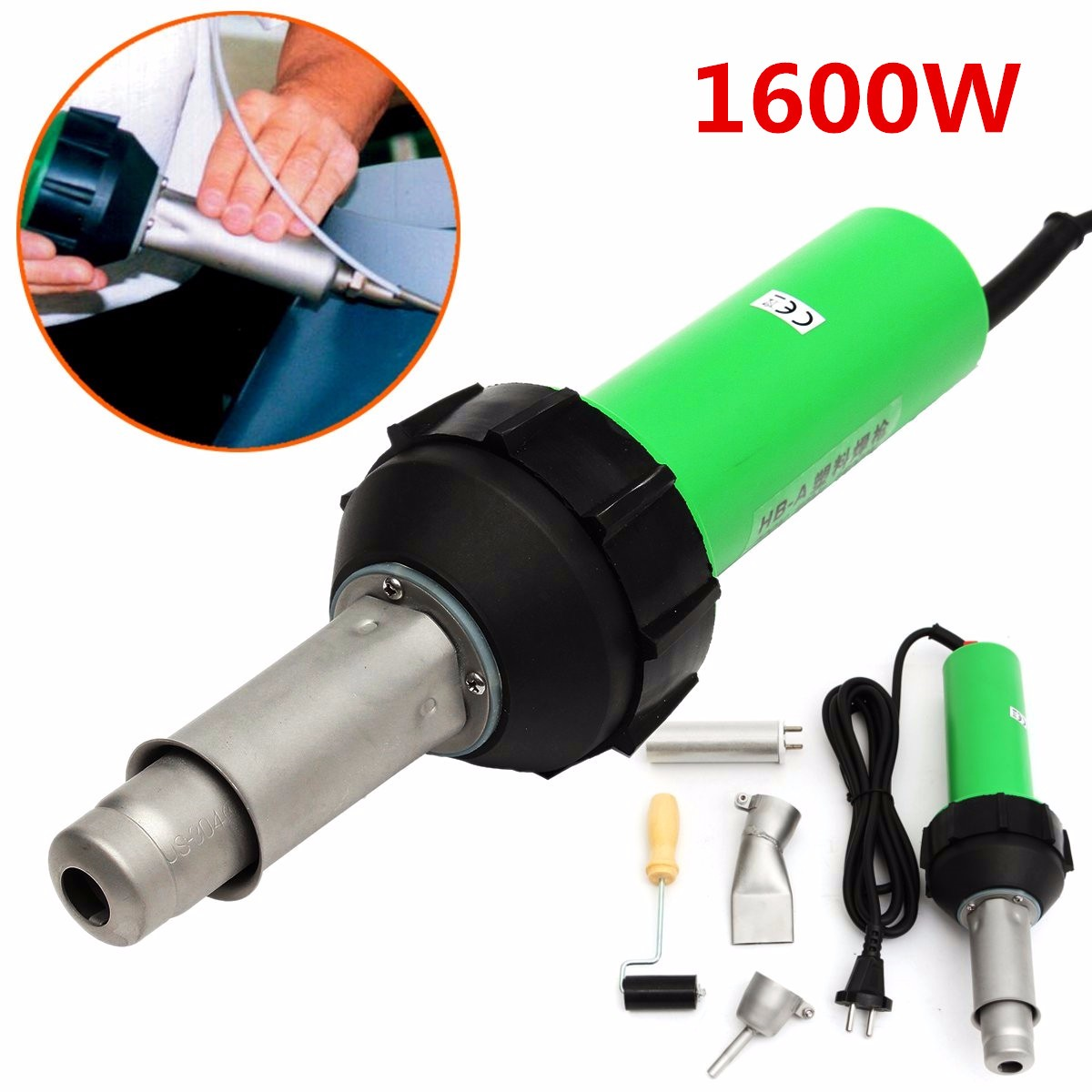 220V 1600W 50Hz Electronic Heat Hot Air Torch Plastic Welding Welder Torch + Nozzle + Pressure Roller 3000Pa hot air plastic welding nozzle advertise cloth material welding tools good quality