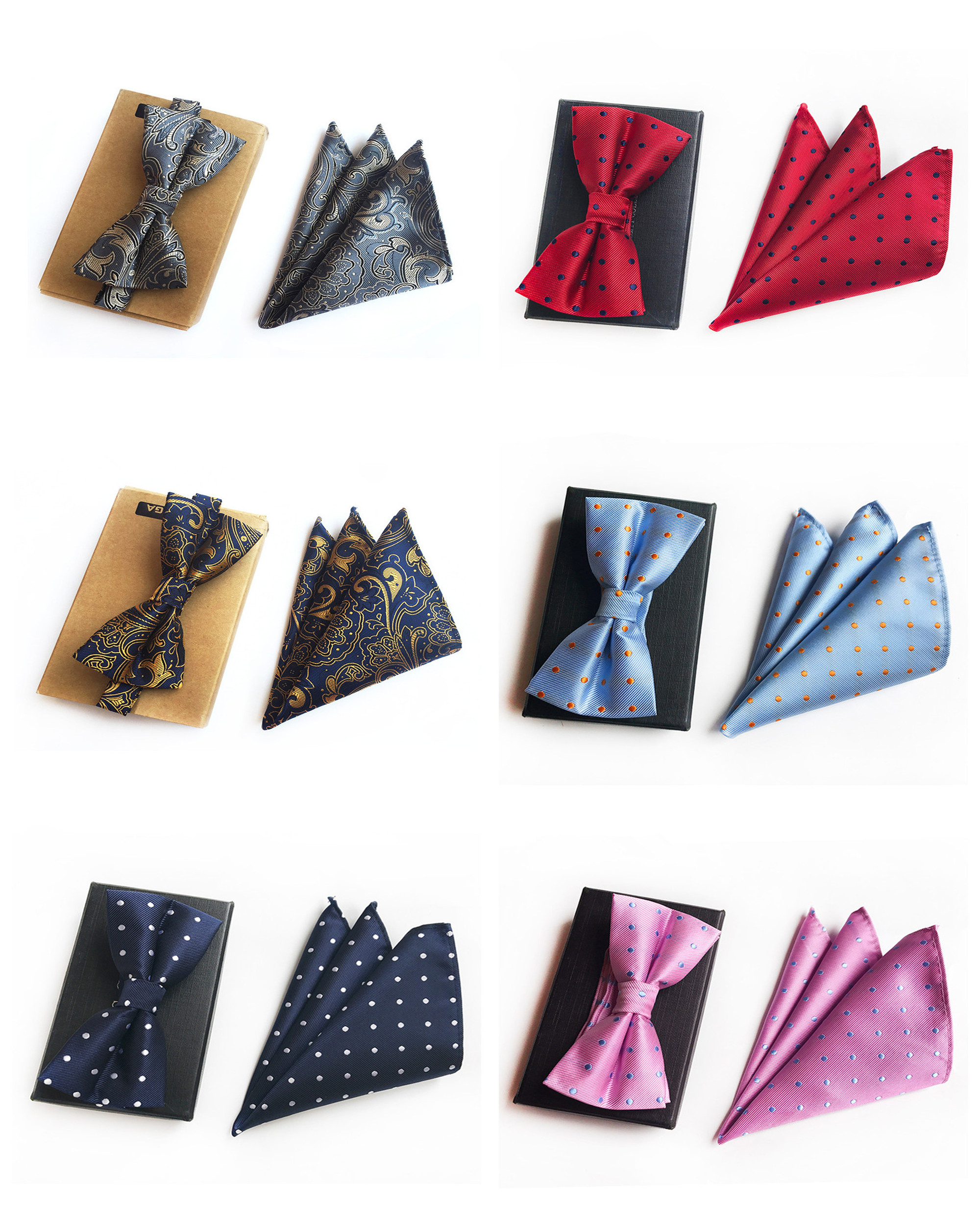 High Quality Polyester Silk Suit Groom Groomsmen Wedding Bow Tie Handkerchief 2019 Unique Design Wild Bow Tie Pocket Towel Suit
