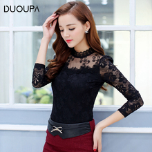 Duoupa 2019 Women Blouses Spring Autumn Fashion Sexy Slim Shirt Tops Lace Long Sleeve O-Neck Leisure Black/White S-5XL