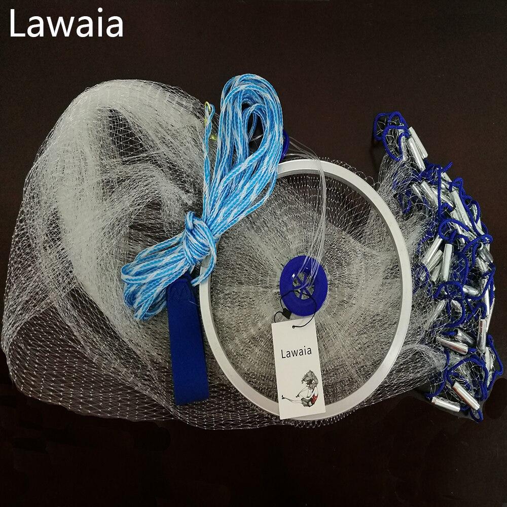 Lawaia Hand Cast Net 2,4 m-5 m Angeln-net Fischernetz Amerikanischen Zeichen Cast Netzwerk Klapp Angeln netzwerk Cast Net