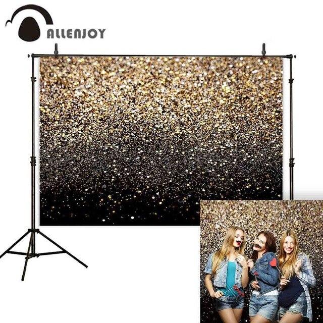 Allenjoy party selfie photography backdrop glitter bokeh gold black shiny wedding photo background studio photocall shoot prop