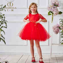 DM Real Picture Red Short Flower Girl Dress For Wedding Lace Half Sleeve Children Kids Prom Evening Gown First Communion Cheap