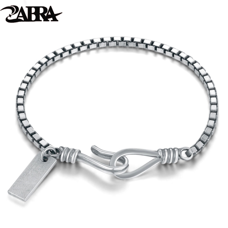 ZABRA 925 Sterling Silver 2mm Dainty Thinness Box Chain Bracelet Women Men Lover Thai Silver Vintage Punk Handmade Women Jewelry zabra authentic 925 sterling silver 8mm skull bracelet link chain mens bracelet vintage thai silver punk bracelets men jewelry