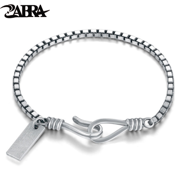 Zabra 925 Sterling Silver 2mm Dainty Thinness Box Chain Bracelet Women Men Lover Thai Vintage