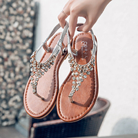 Moxxy Fashion Leather Women Sandals Bohemian Diamond Slippers Woman Flats Flip Flops Shoes Summer Beach Sandals