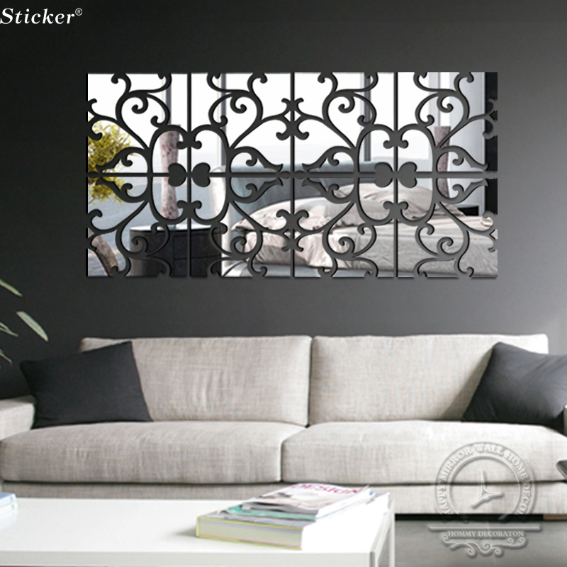 32pcs/set 20x80cm 3d Mirror Wall Sticker Flowers Home Decor Diy Acrylic  Mirror Effect Surface Modern Design TV Wall Decor In Wall Stickers From  Home ...